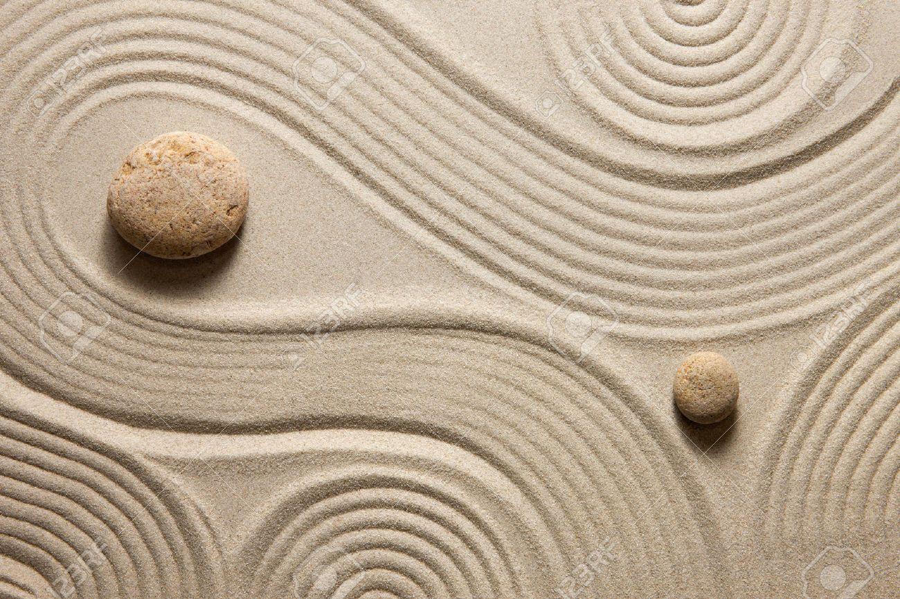 Japanese Zen Garden With Stone In White Sand Stock Photo Royalty .