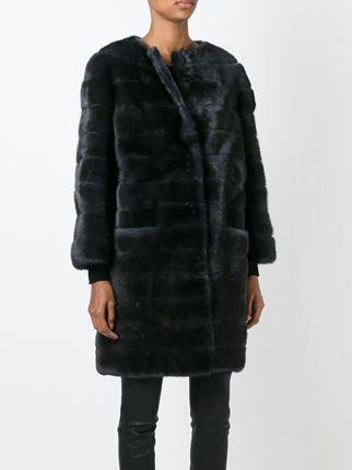 Liska abrigo de piel de visón con relleno