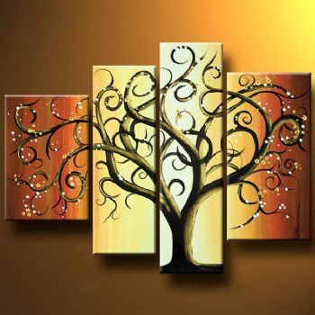Curly Tree-Modern Canvas Art Wall Decor-Abstract Oil Painting Wall ...