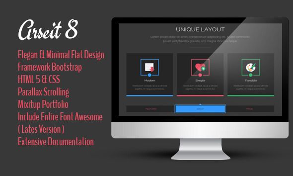 Arseit Onepage Creative Bootstrap This Template Is Great For Company Profile And Portfolio Easy To Edit We Use Css Import Easier Style