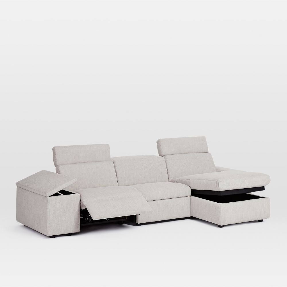 Enzo Reclining 3 Seater Sectional With Storage Chaise Sofa Storage Storage Chaise Luxury Sofa