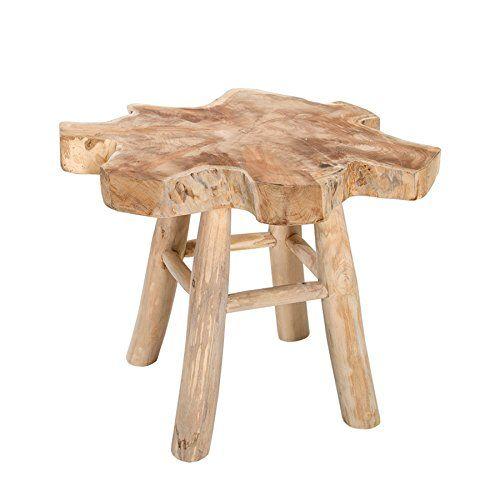Massiver Teak Baumscheiben Couchtisch ROOT 50cm Beistelltisch aus - Moderne Tische Fur Wohnzimmer
