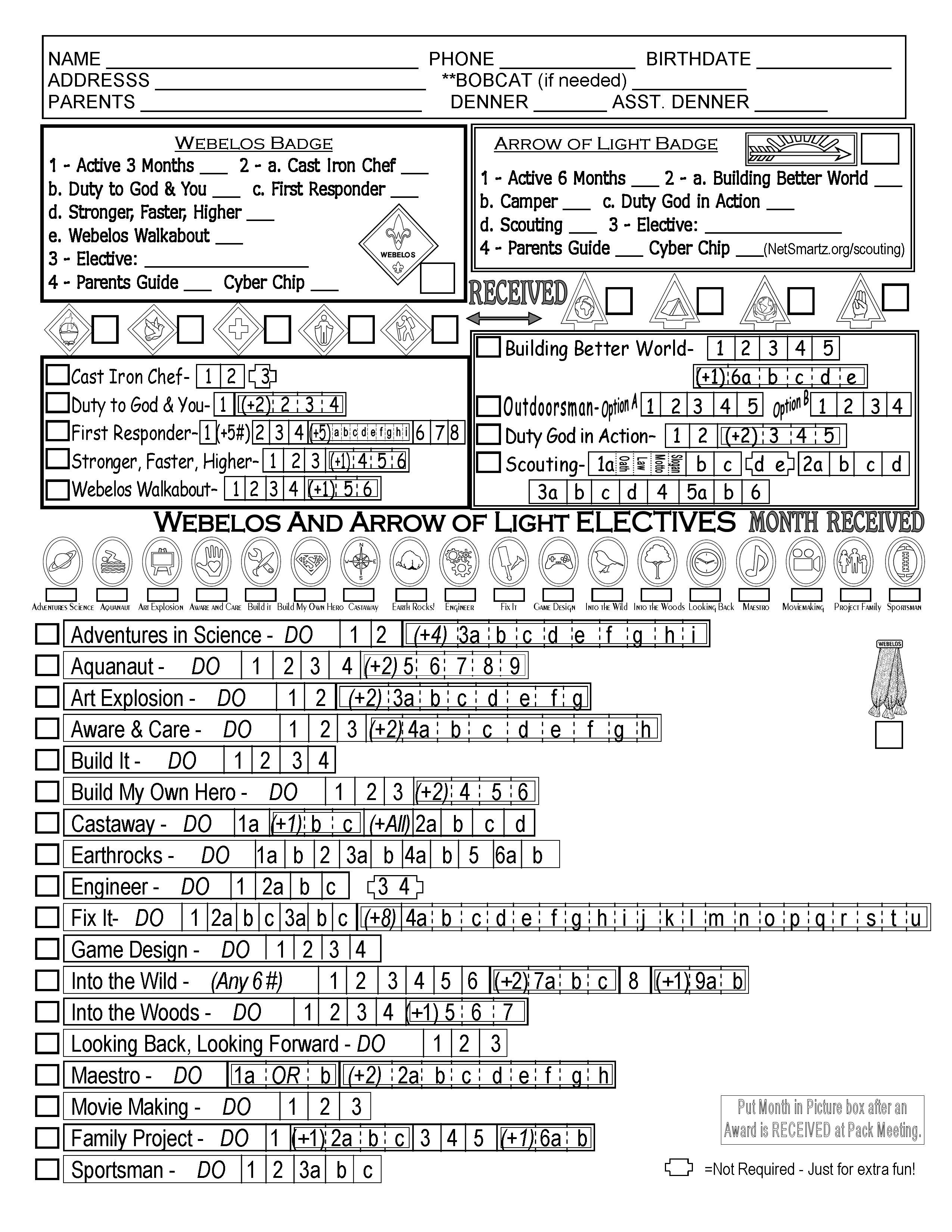 Cub Scout Webelos Tracking Sheet with the New modified – Webelos Citizen Worksheet