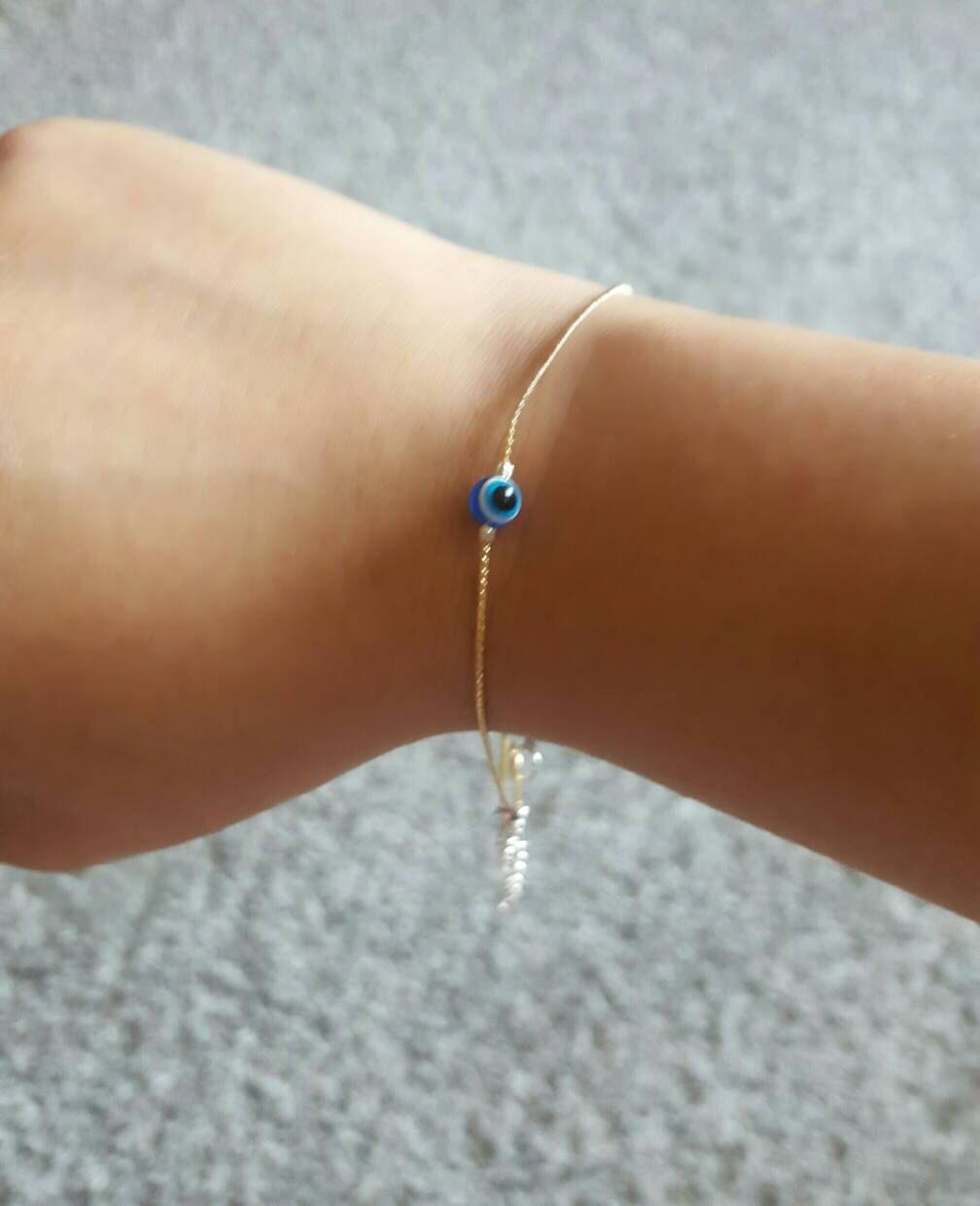 6cfb5e9c188 Thin Gold Bracelet. Thin gold Anklet. Gold Evil Eye. Evil Eye Bracelet.  Boho bride. Surfer girl. Bridesmaid gift. Gold sister bracelet.