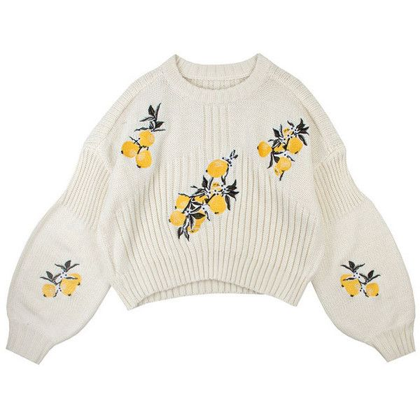 Lemonade Sweater (2,635 MXN) ❤ liked on Polyvore featuring tops, sweaters, shirts, white embroidered shirt, embroidered sweater, patch shirt, embroidery shirts and loose white shirt
