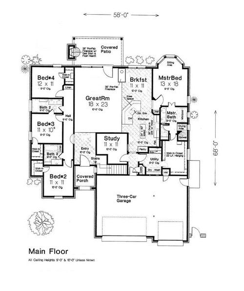 I D Move Garage Connect It Via Mudroom Take Out The Study And Maybe Take Out A Bathroom Inbetween The 3 Bedroo Floor Plans Open Floor Plan Floor Plan Layout