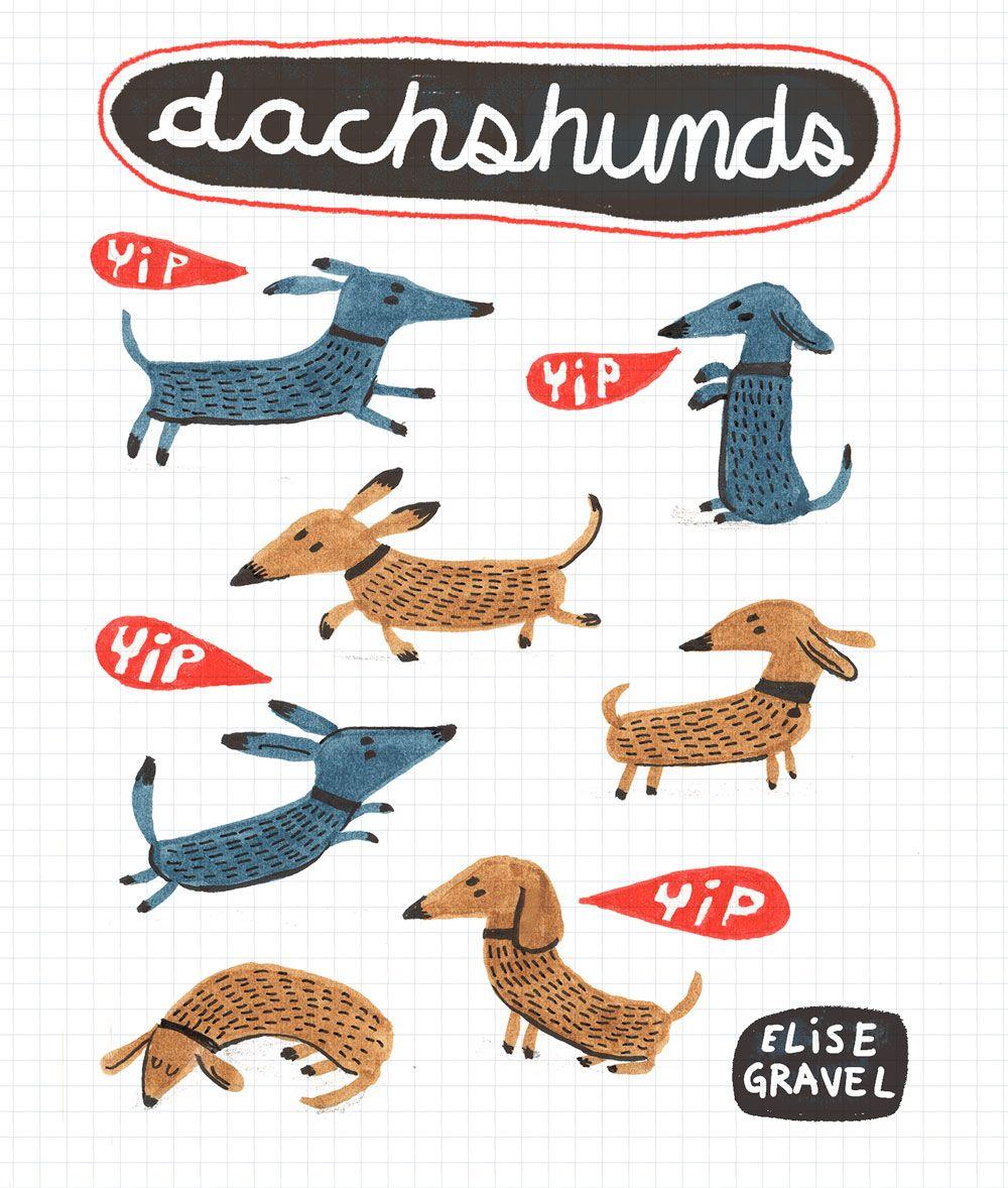 Elise Gravel illustration • dogs • cute • dachshund • chien saucisse • basset • art • drawing • pattern • fun • brown • blue