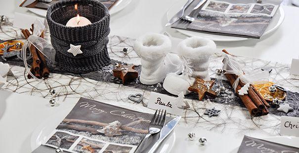 Tischdeko winter  Tischdeko Weihnachten/Winter Strick/Stiefel | Tischdeko ...