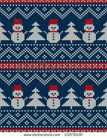 Winter Holiday Seamless Knitted Pattern with Snowman and Christmas ...