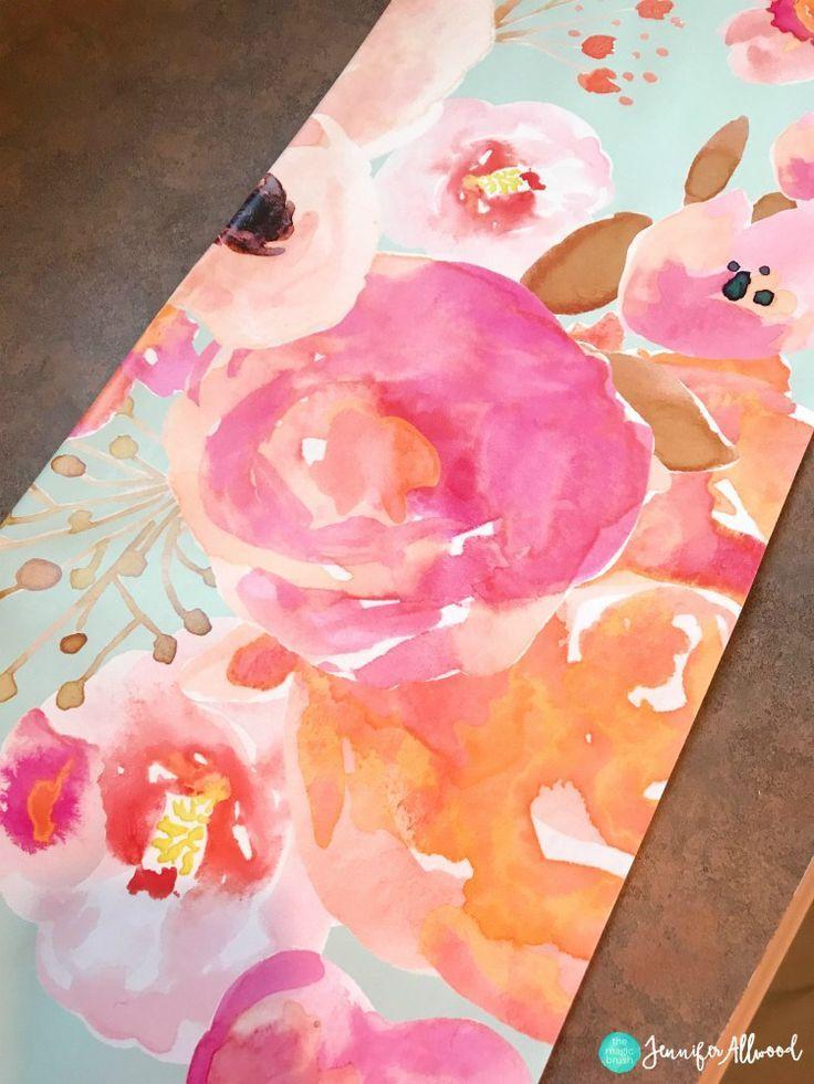 Floral Wallpaper Craftroom Makeover Jennifer Allwood Magic Brush #homedecor #craftroom #wallpaper