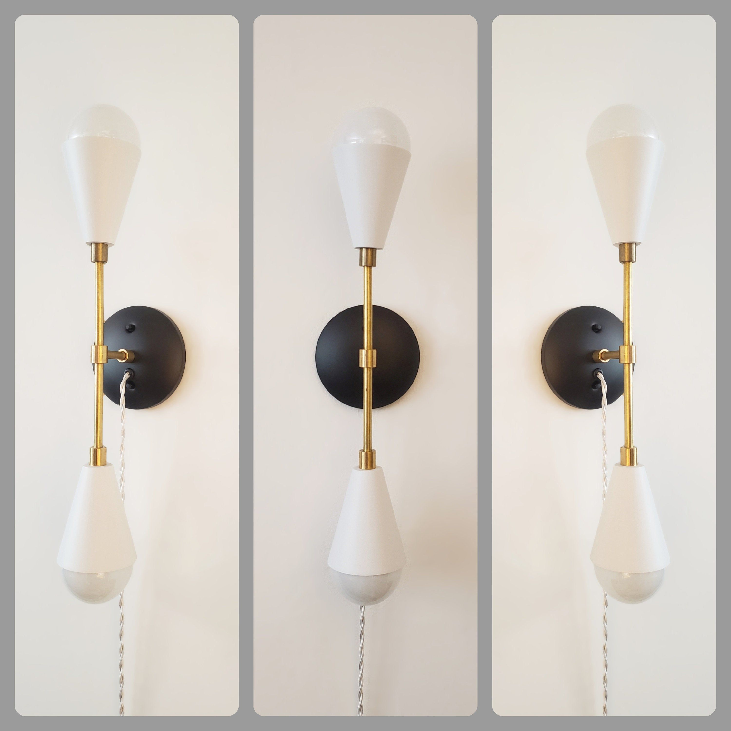 Plug In Modern Wall Sconce Mid Century Wall Light Black And White Loft Sconce Vanity Light Modern Bathroom Sconce Art Lighting Modern Wall Sconces Bathroom Sconces Sconces