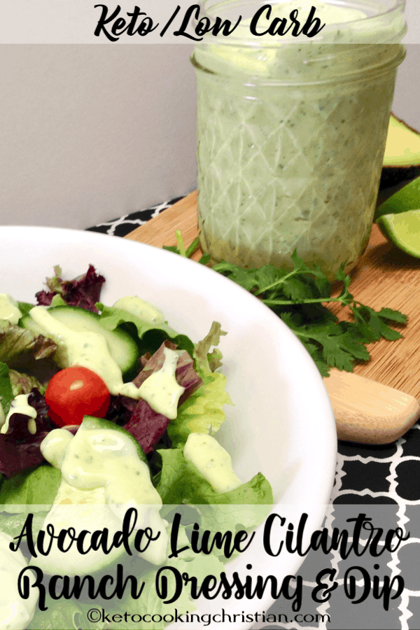 Avocado Lime Cilantro Ranch Dressing & Dip - Keto and Low Carb A Low Carb and Keto friendly ranch dressing loaded with healthy fats and flavor from avocado, lime and fresh cilantro! #ketorecipes #keto #lowcarb #ketodiet #ketogenicdiet #lowcarbdiet #ketogenic #lowcarbhighfat #lowcarbrecipes #lchf #glutenfree #ketoweightloss #ketocookingchristian #ketofriendlysalads