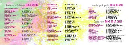 """Mathilda y Tribalia estarán presentes con diez modelos, que lucirán prendas de las nuevas colecciones de Mamatayoe y Surkana.  Aquí tenéis la lista de comercios que participan y de los colaboradores de """"Moda en la calle"""" 2014."""