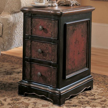 Hand Painted Accent Chest With Three Drawers And Artful Panel Detail.  Product: ChestConstruction · Furniture CatalogFurniture MakersHooker ...