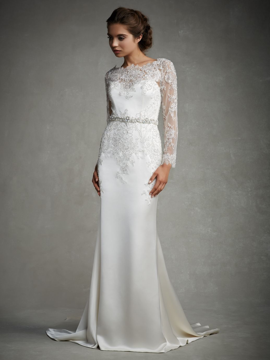 30 exquisite elegant long sleeved wedding dresses long sleeved enzoani jordan bridal gown a timeless sophisticated off the shoulder long sleeved gown with a beautifully beaded bodice over a soft charmeuse sheath ombrellifo Image collections