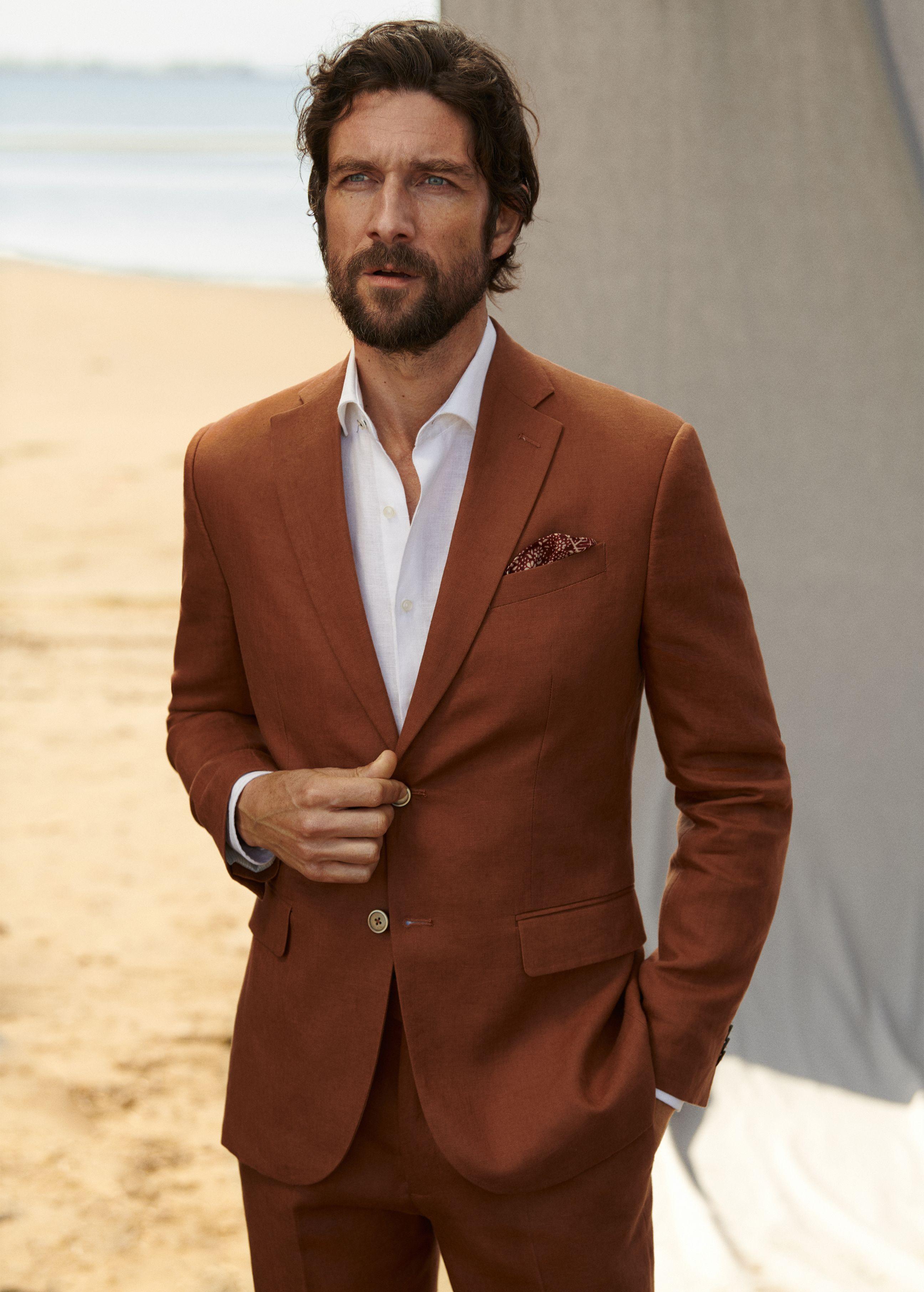 linen short sleeve shirt men in suit styles