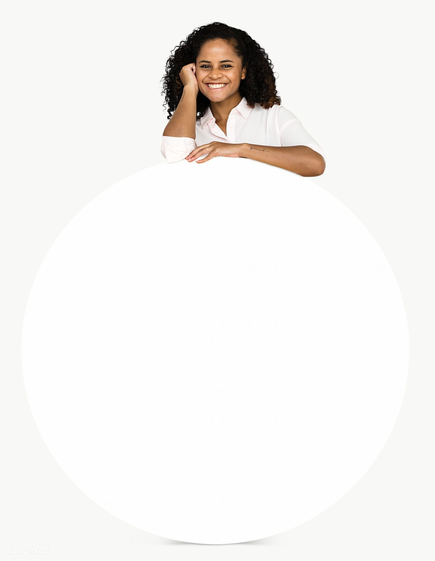 Download Premium Png Of Cheerful Black Woman With An Empty Round Board Pink Background Images Black Women My Black Is Beautiful