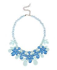 Blue Gem Stone Necklace  - New Look