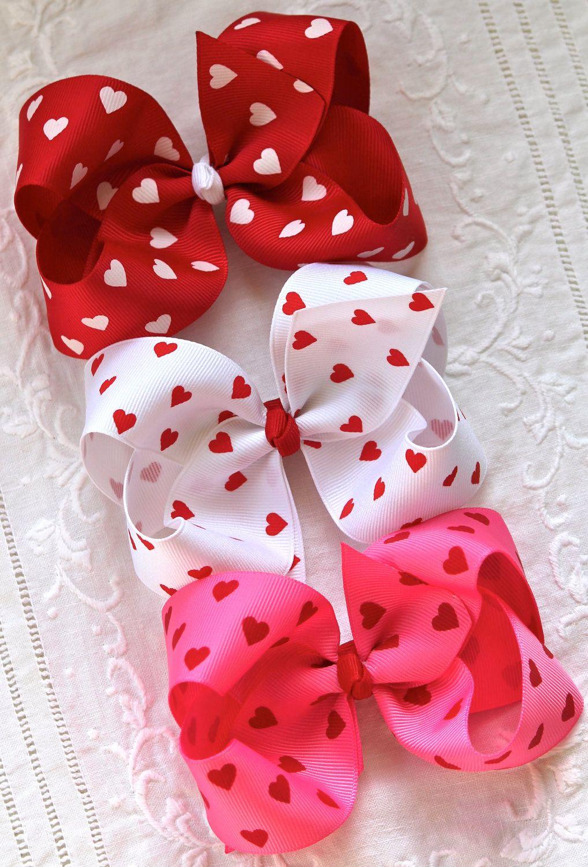 valentine's hearts hair bow &