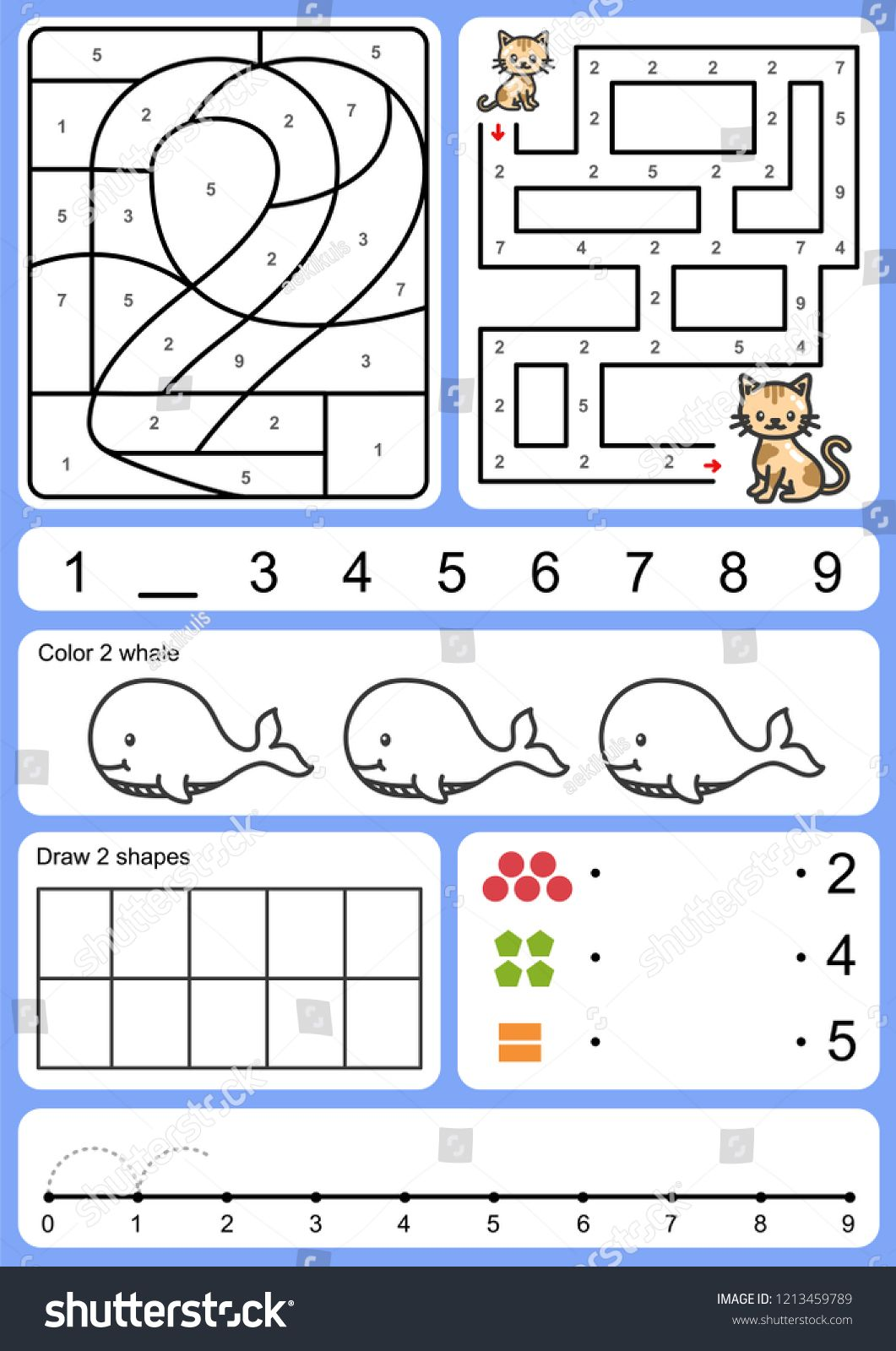 Coloring Tracking Matching And Drawing Object Of Number Worksheet For Education Sponsored Ad Matching Dr Illustration Design Template Design Drawings