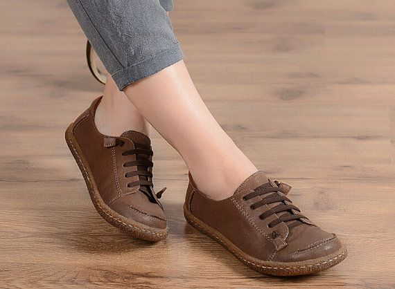 Size Us10 5size Us11 Leather Brown Shoes For Women Etsy Zapatos De Cuero Zapatos Oxford Mujer Zapatos