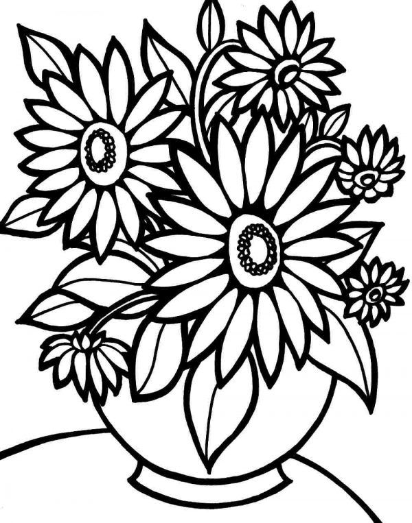 Sheet Flowers Coloring Pictures Vase SMLF