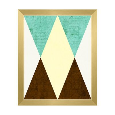 "Click Wall Art Invert Wall Teal Framed Graphic Art on Canvas Frame Color: Gold, Size: 26.5"" H x 22.5"" W x 1"" D"