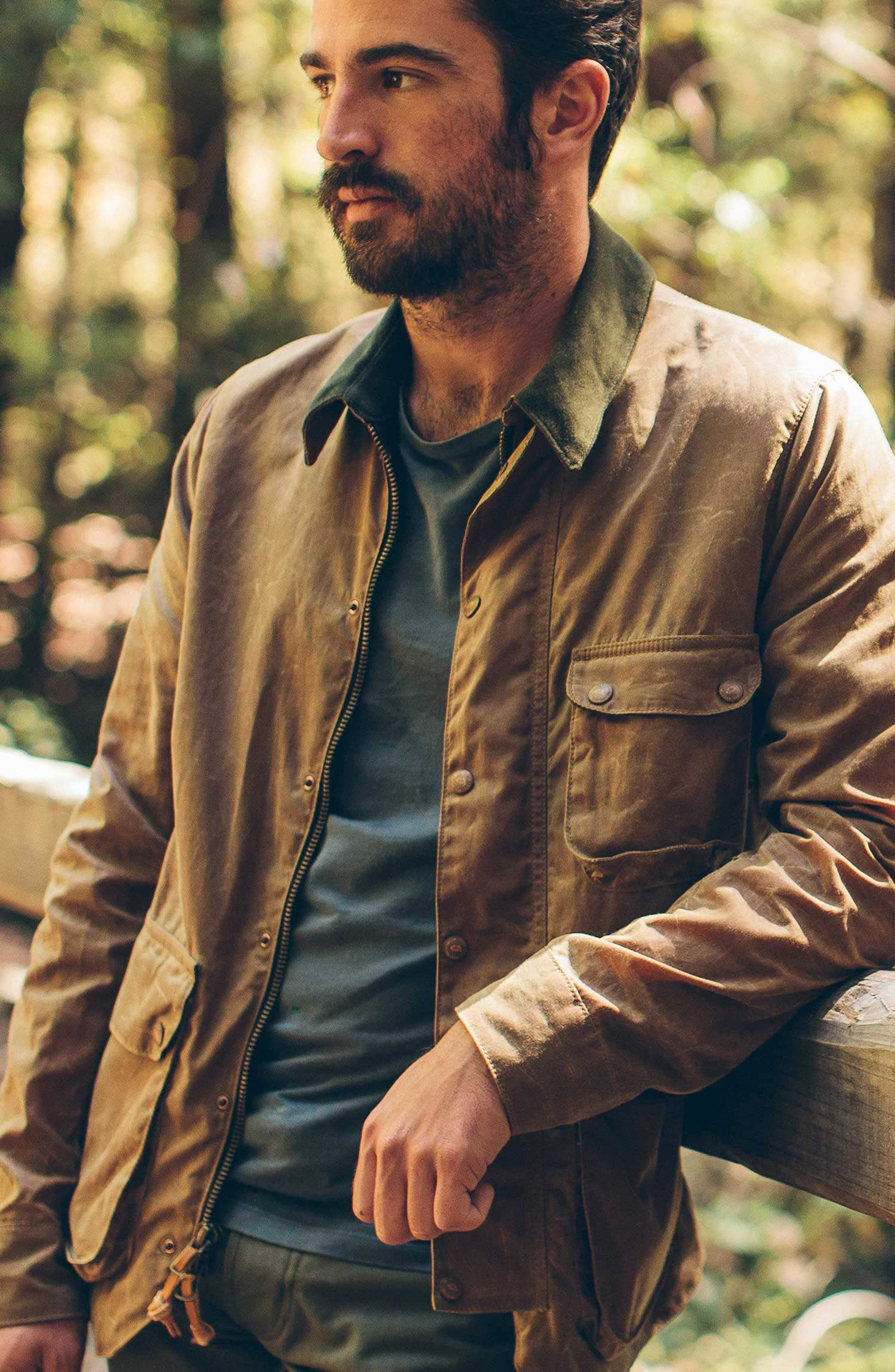 The Rover Jacket In Field Tan Waxed Canvas Mens Canvas Jacket Mens Wax Jackets Khaki Jacket