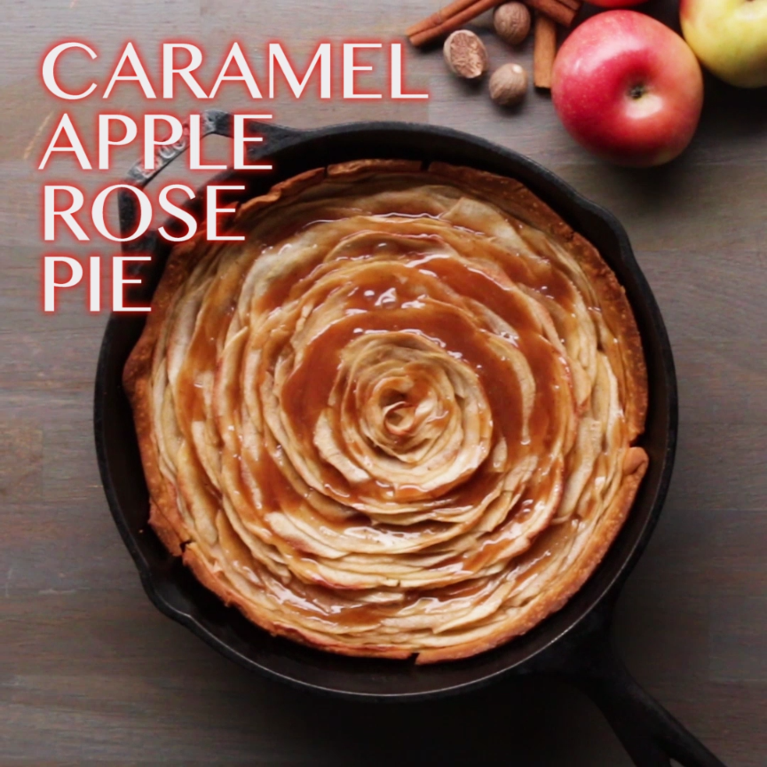 Caramel Apple Rose Pie