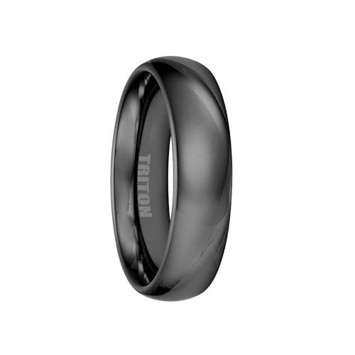 ACHILLES Black Polished Domed Tungsten Ring by Triton Rings - 6mm - http://www.loveuniquerings.com/triton-rings/achilles-black-polished-domed-tungsten-ring-by-triton-rings-6mm/
