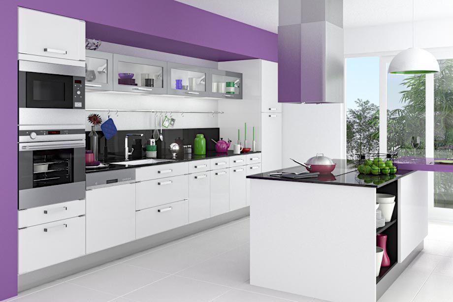 cuisine silver blanc   sweet sweet home... inspiration   pinterest ... - Meuble Cuisine Violet