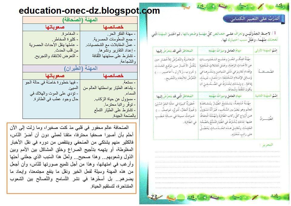 مدونة التعليم و التربية حلول تمارين صفحة 23 من كراس النشاطات في اللغة العر Education Bullet Journal Journal