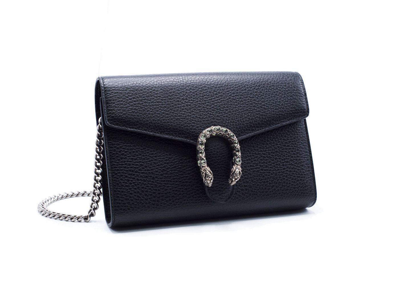 60623bdec Gucci Women's Black Dionysus Leather Mini Chain Shoulder Bag ...