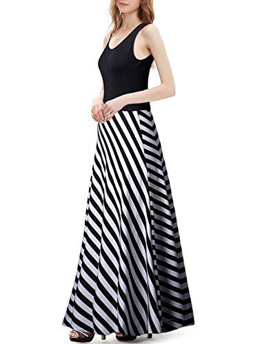 IHOT Summer Women Long Floor Length Big Hem Black White Stripe Dress Beach Skirt * You can get more details by clicking on the image.(This is an Amazon affiliate link and I receive a commission for the sales)