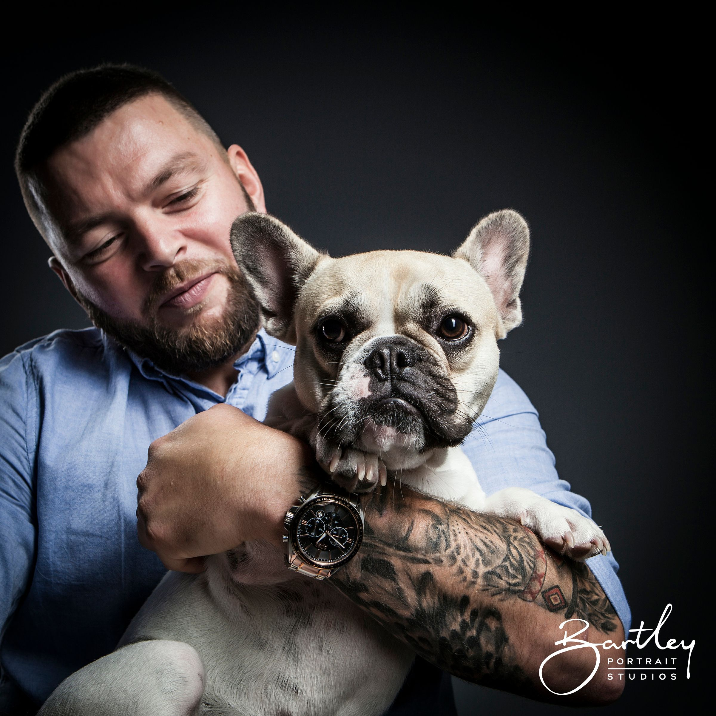 Man S Best Friend Man With Tattoos Posing With Cute Dog In