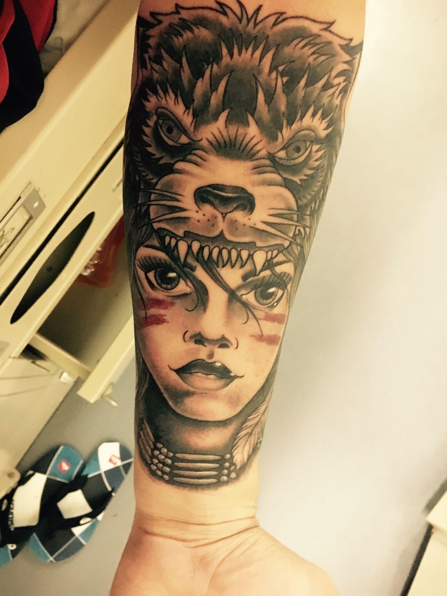 Traditional Wolf Headdress By Paul Lovio At Body Temple Oceanside Ca Wolf Headdress Tattoos Cool Tattoos