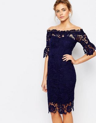 f7c186ee8e Paper Dolls off shoulder crochet dress with frill sleeve in navy in ...