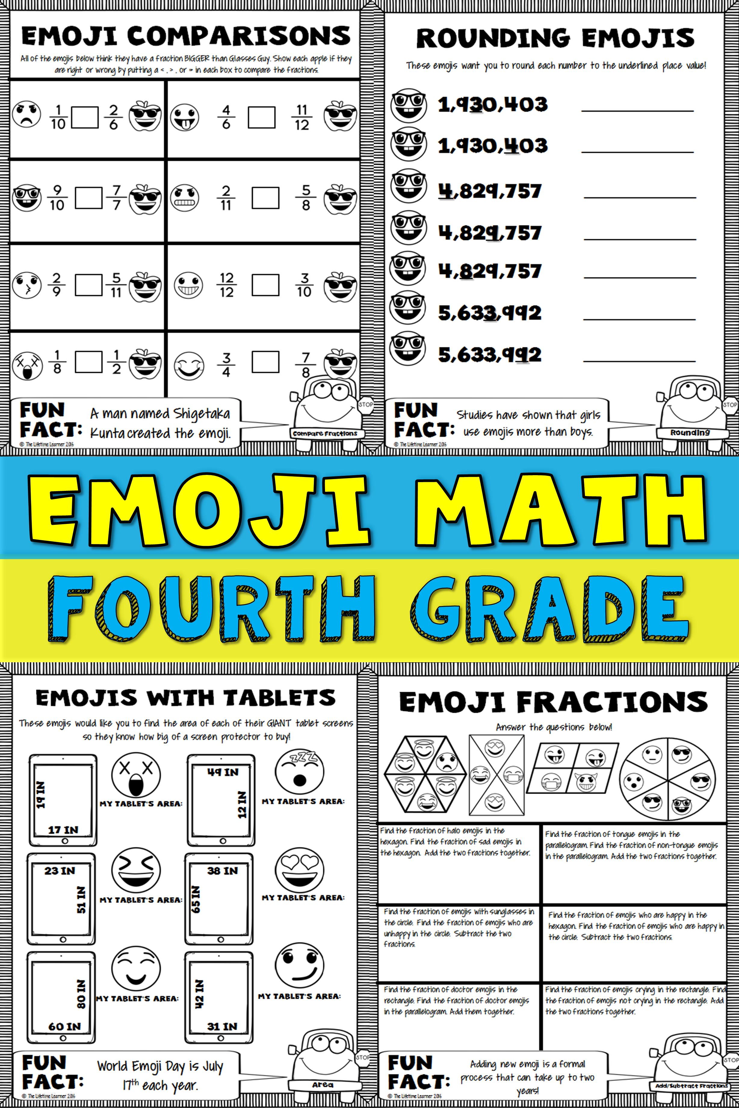 4th Grade Emoji Math Print And Digital Emoji Math Math Packets Math [ 3684 x 2456 Pixel ]