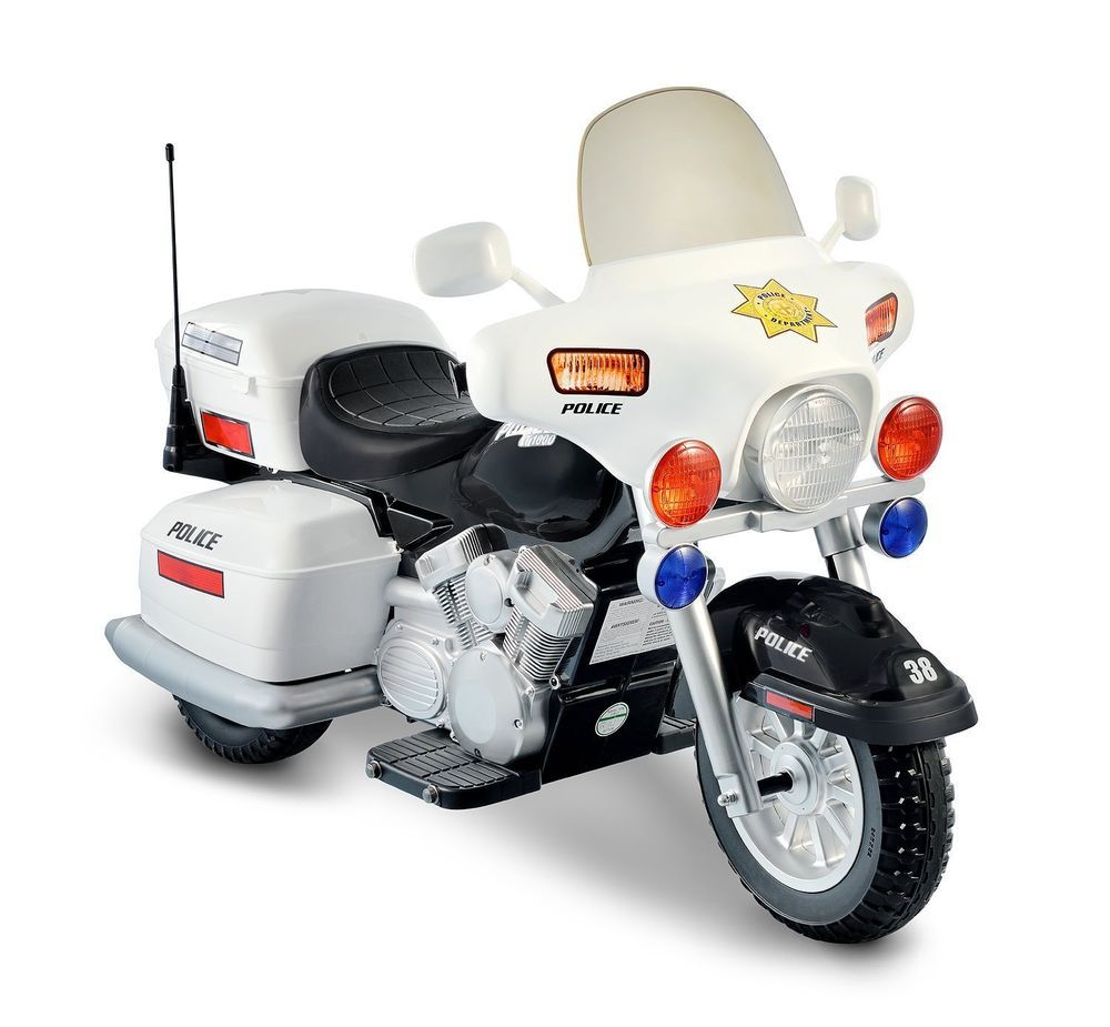 Kidz Motorz Ride On Police Toy Motorcycle 12v Battery Powered