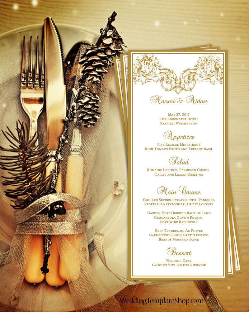 Wedding Menu Card Vienna Gold Tea Length | English high tea