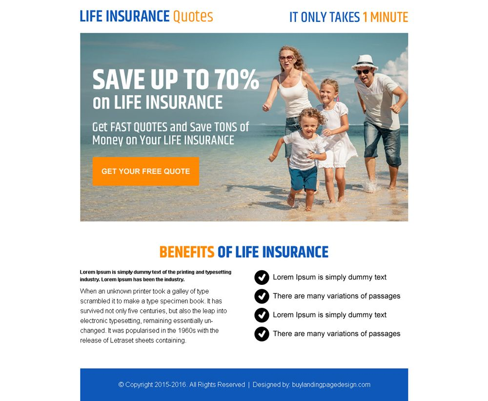 Life insurance ppv lead generating landing page design