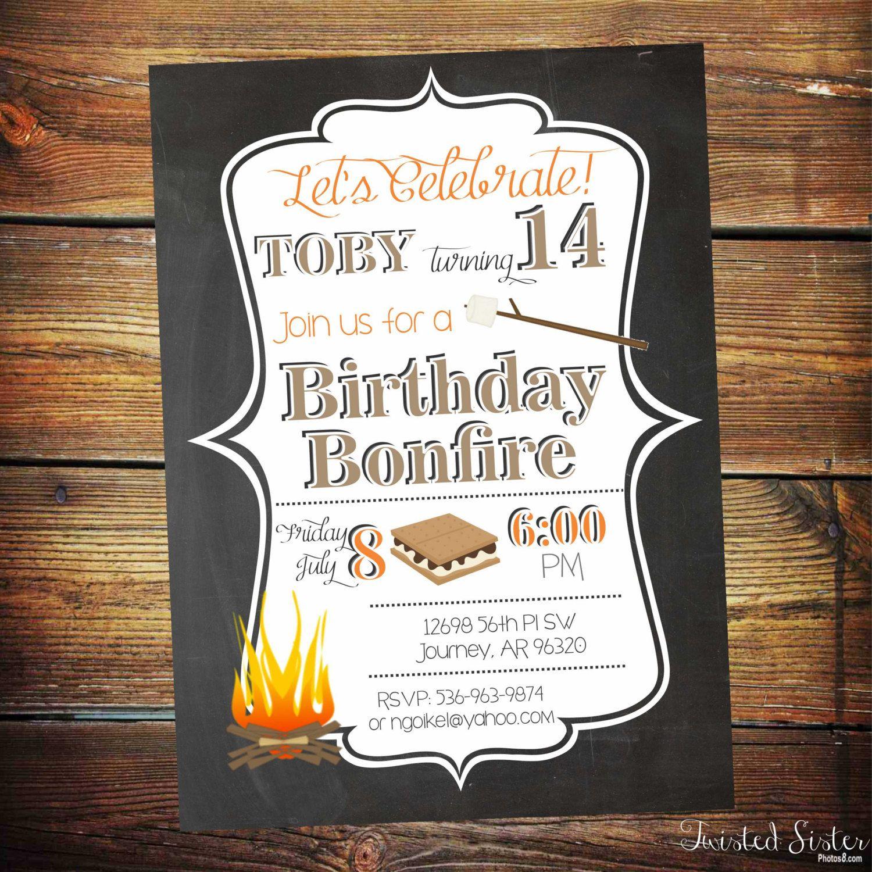 Bonfire Birthday Invitation, Bonfire Invitatino, Bonfire Invite ...