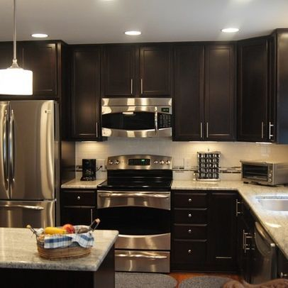 Chocolate Cabinets Design Ideas Pictures Remodel And Decor Home Kitchens Kitchen Remodel Kitchen Design