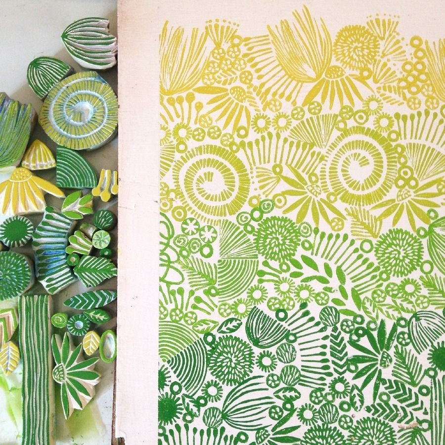 Amazing Block Printing Ideas · Craftwhack #stampmaking Jeanne McGee Printmaking stamps and print #eraserstamp