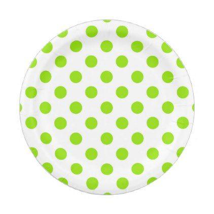 sc 1 st  Pinterest & Retro Lime Green Polka Dots Paper Plate | Polka dot paper