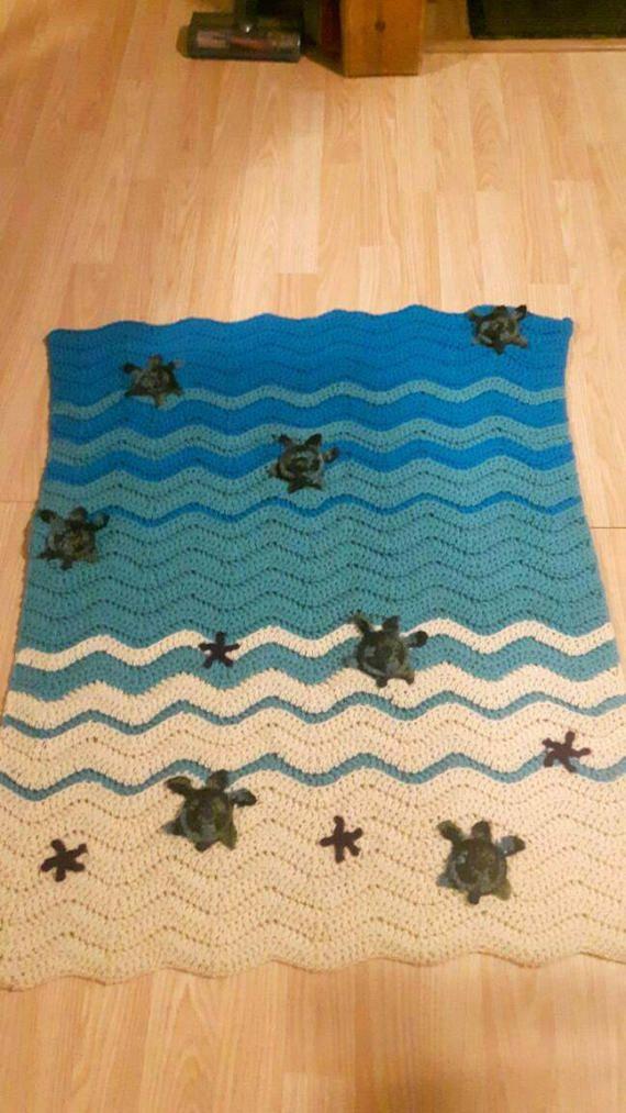 Crochet sea turtle baby blanket | Ganchillo mantas, Tortuga y Manta
