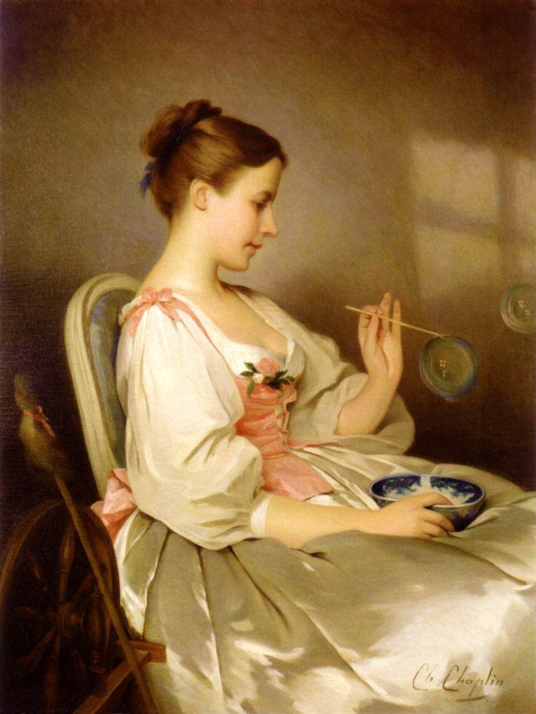 As bolhas de sabão, s/d Charles Joshua Chaplin (Inglaterra, 1825-1891) óleo sobre tela  —