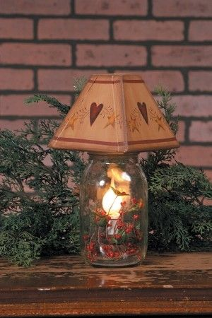 Mason jar electric candle lamp primitive hearts stars adorable primitive stores specializes in primitive lighting including this primitive electric candle mason jar lamp decorated with hearts and stars wood lamp shade aloadofball Images