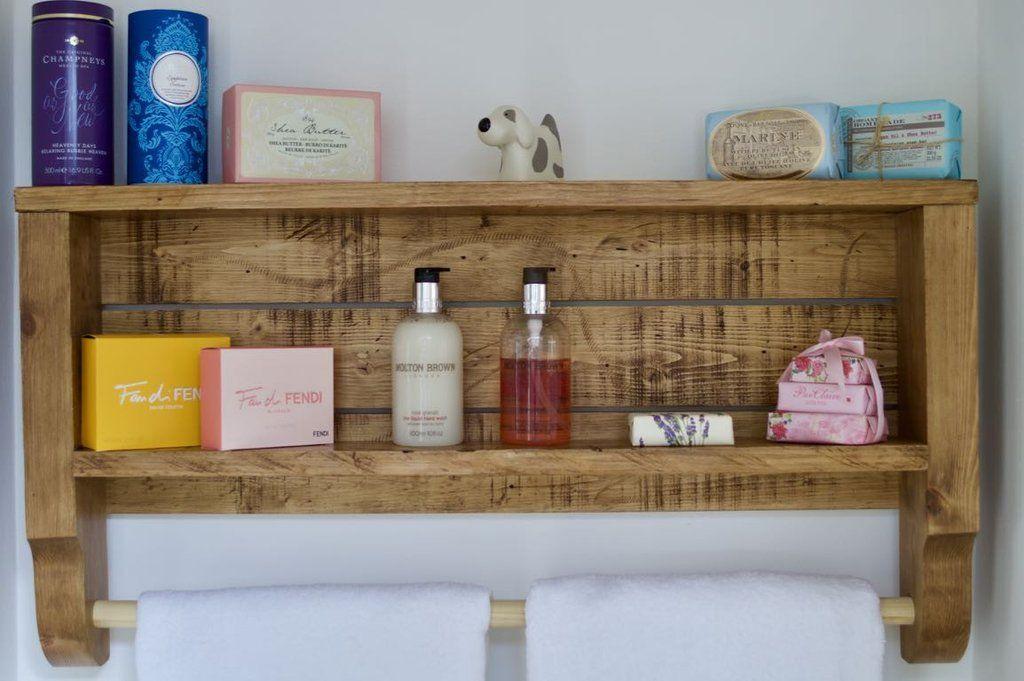 Rustic Wooden Towel Rail With Shelf | bathroom | Pinterest | Towel ...