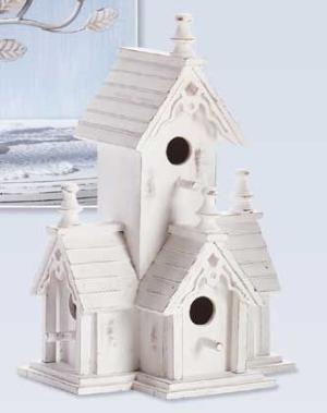 Shabby White Victorian Birdhouse by ZombieGirl